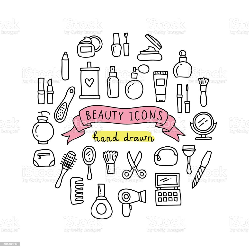 Beauty icons hand drawn illustrations. Cute beauty and cosmetics doodles vector art illustration