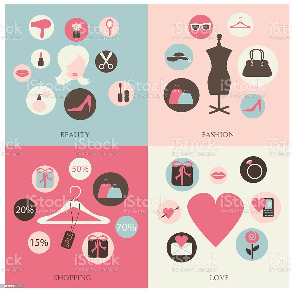 Beauty icons vector art illustration