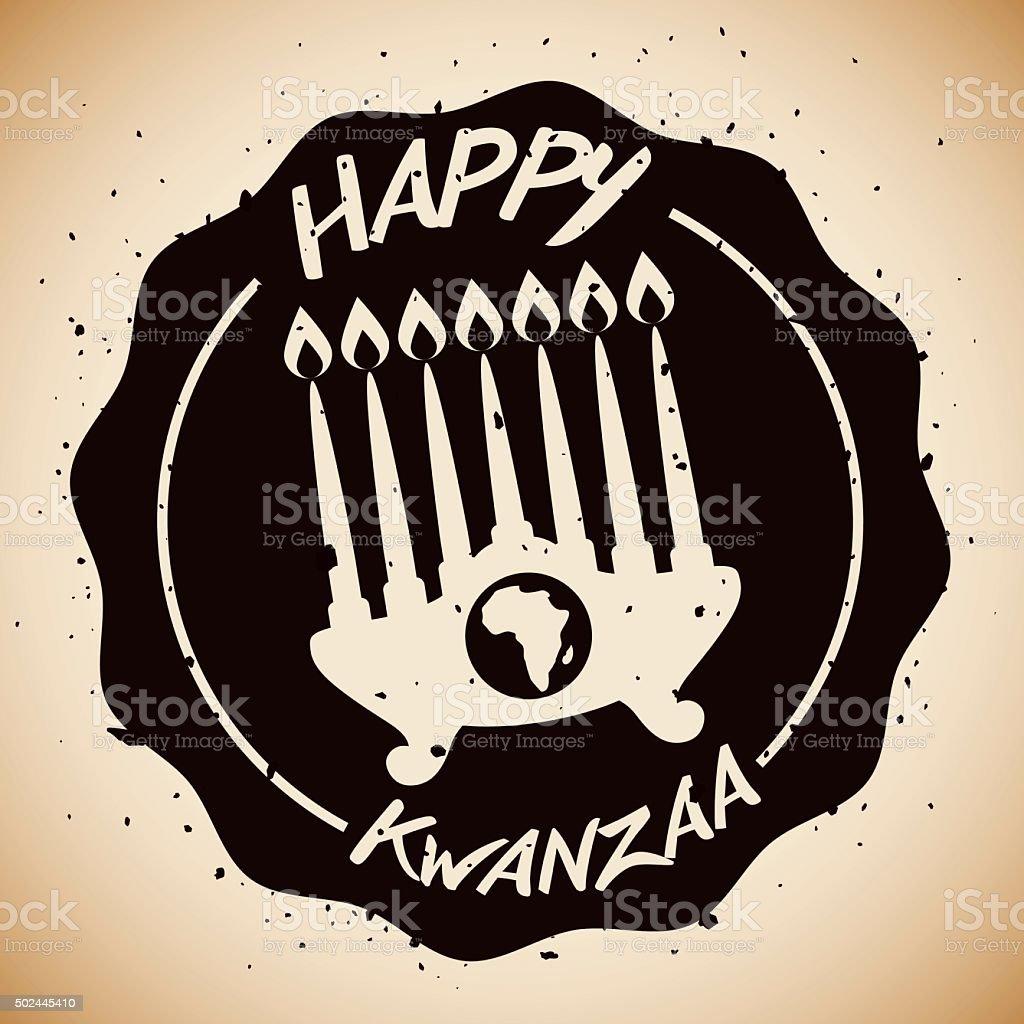 Beauty Kwanzaa Kinara in Stamp. vector art illustration