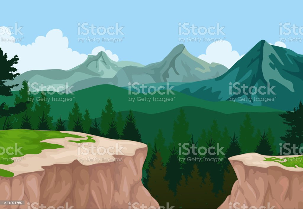 beauty lake with mountain cliff landscape background vector art illustration