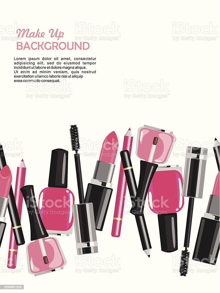 Beauty make up fashion cosmetics abstract background vector art illustration