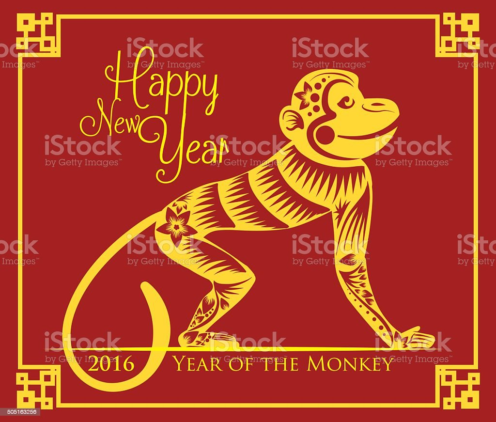 Beauty Monkey Painting for Chinese New Year. vector art illustration