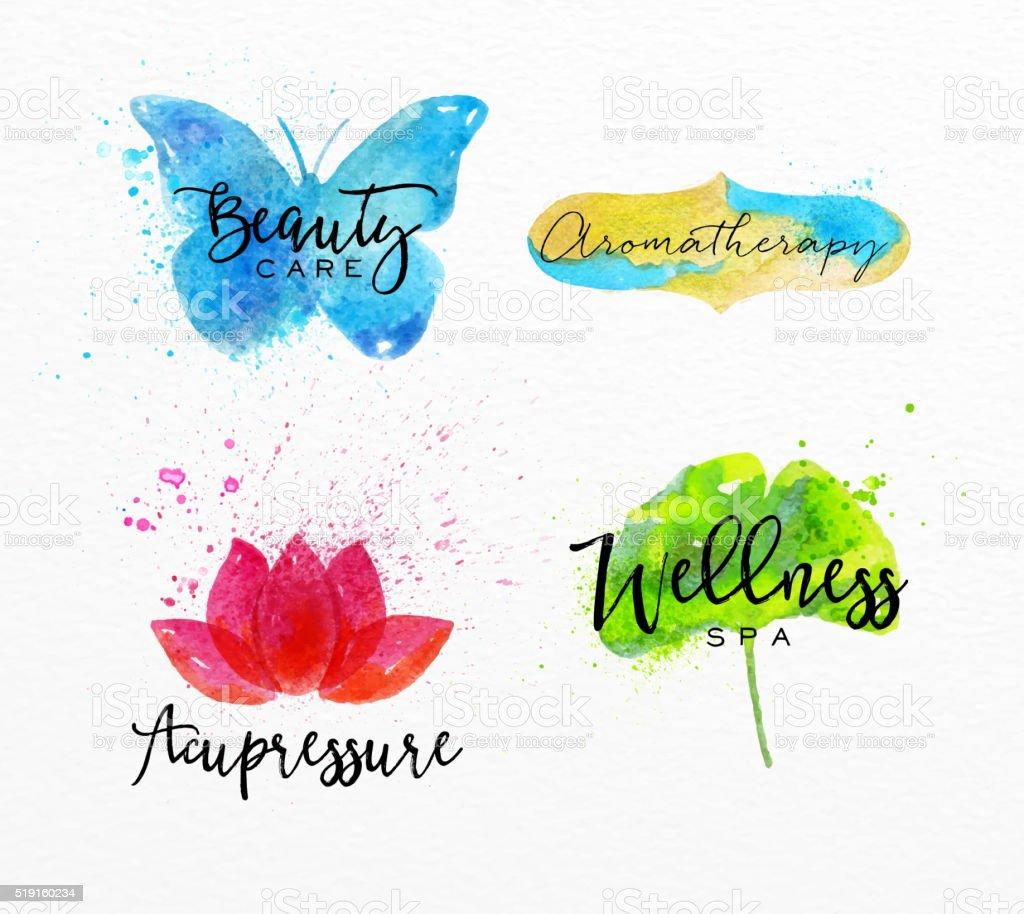 Beauty natural spa symbols butterfly vector art illustration