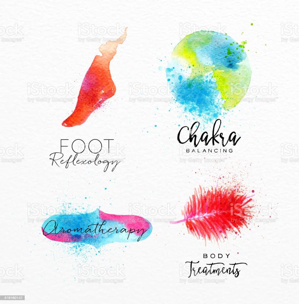 Beauty natural spa symbols foot vector art illustration