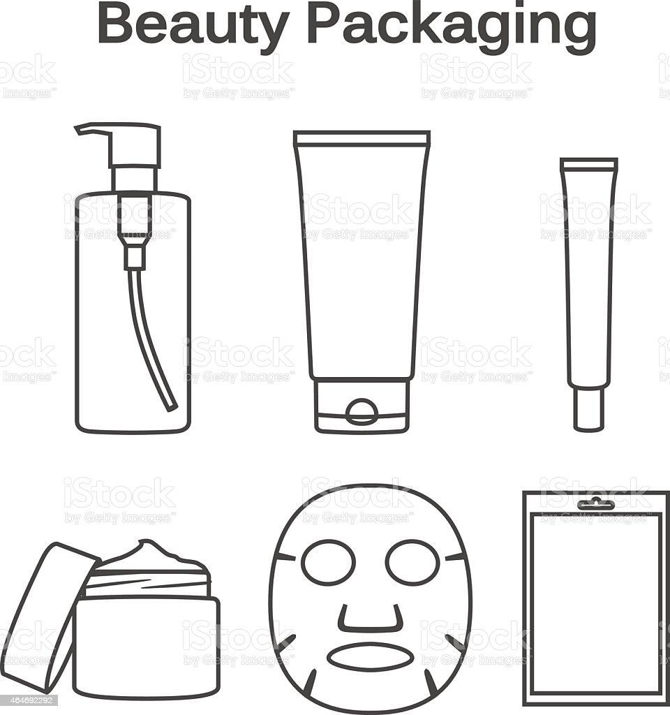 Beauty Packaging linear symbol vector art illustration