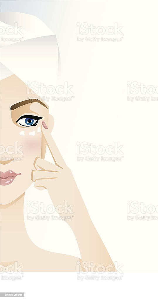 Beauty regime - eye cream royalty-free stock vector art