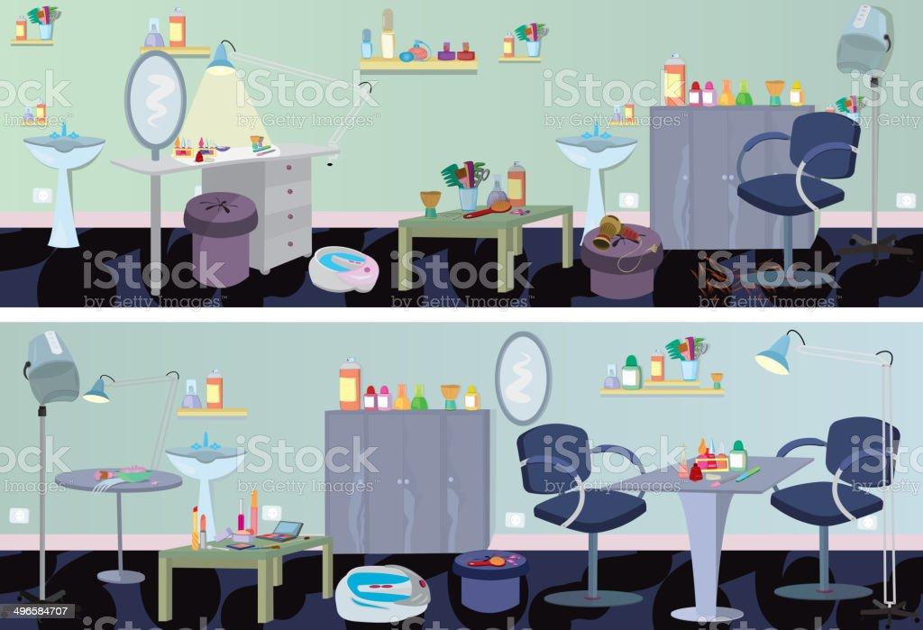 Beauty salon  banner furniture and appliances vector art illustration