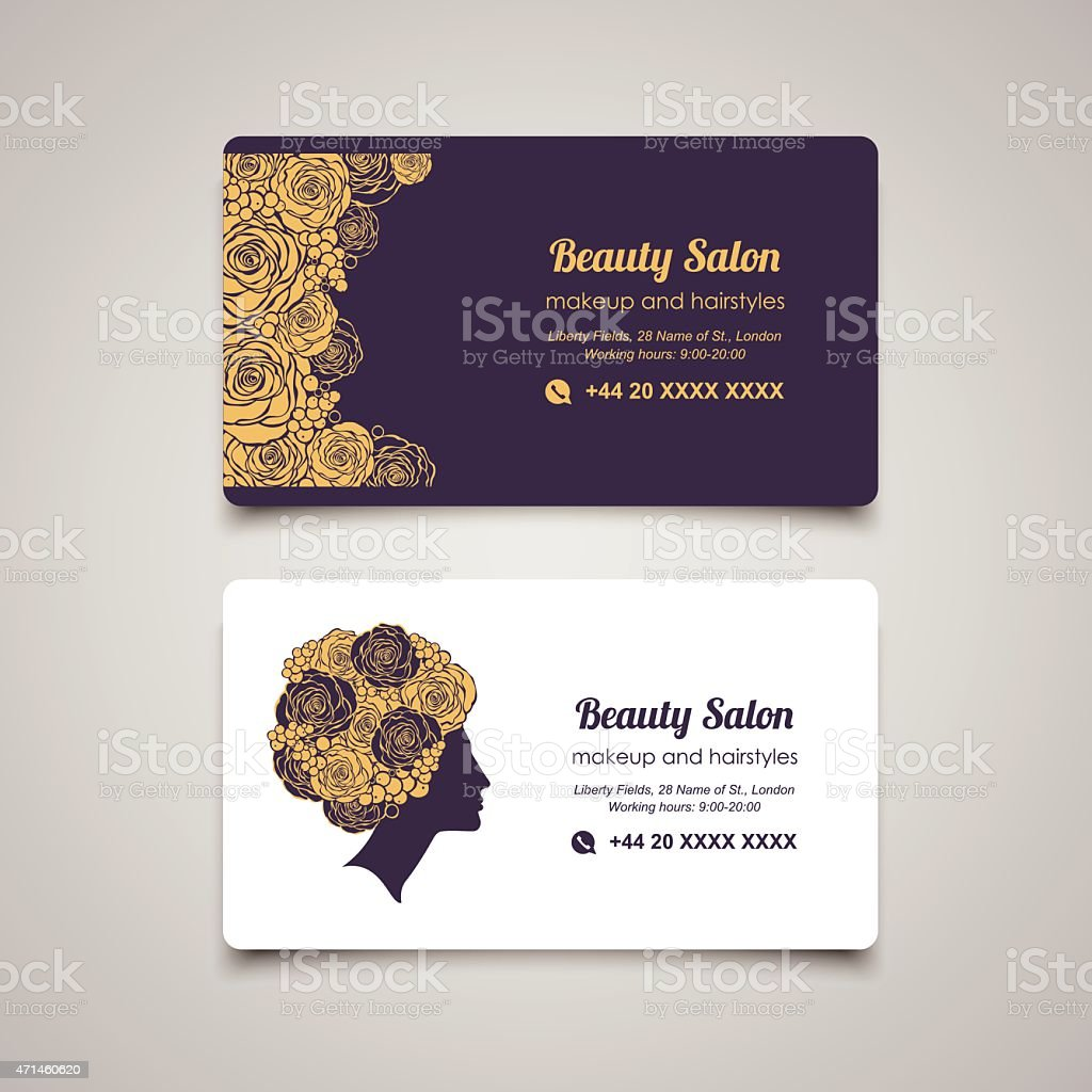 beauty salon business card design template with beautiful womans