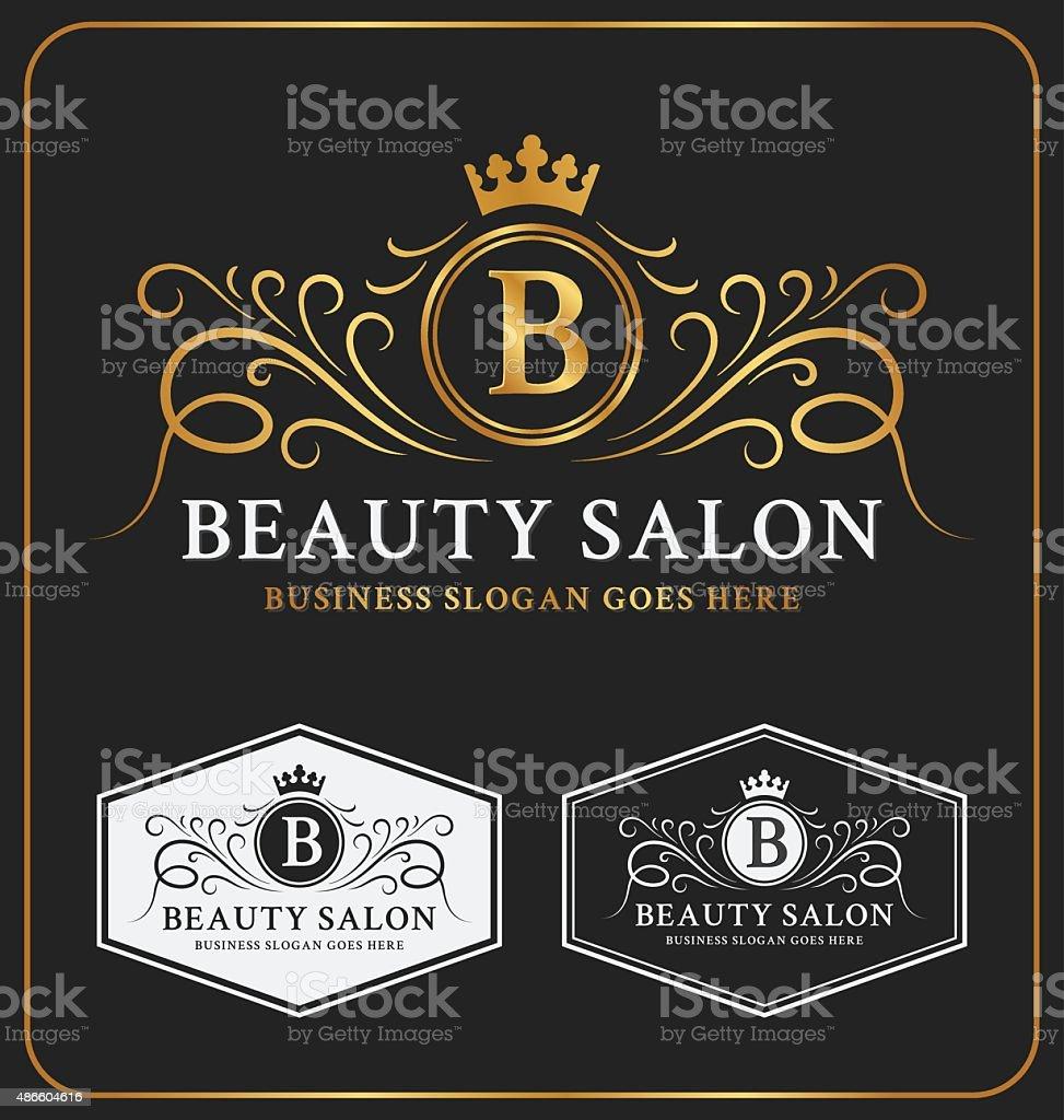 Beauty Salon Heraldic Crest Logo Template Design vector art illustration