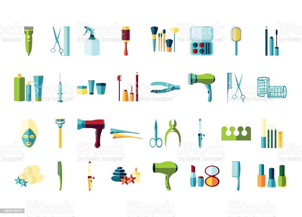 beauty salon icon set vector art illustration