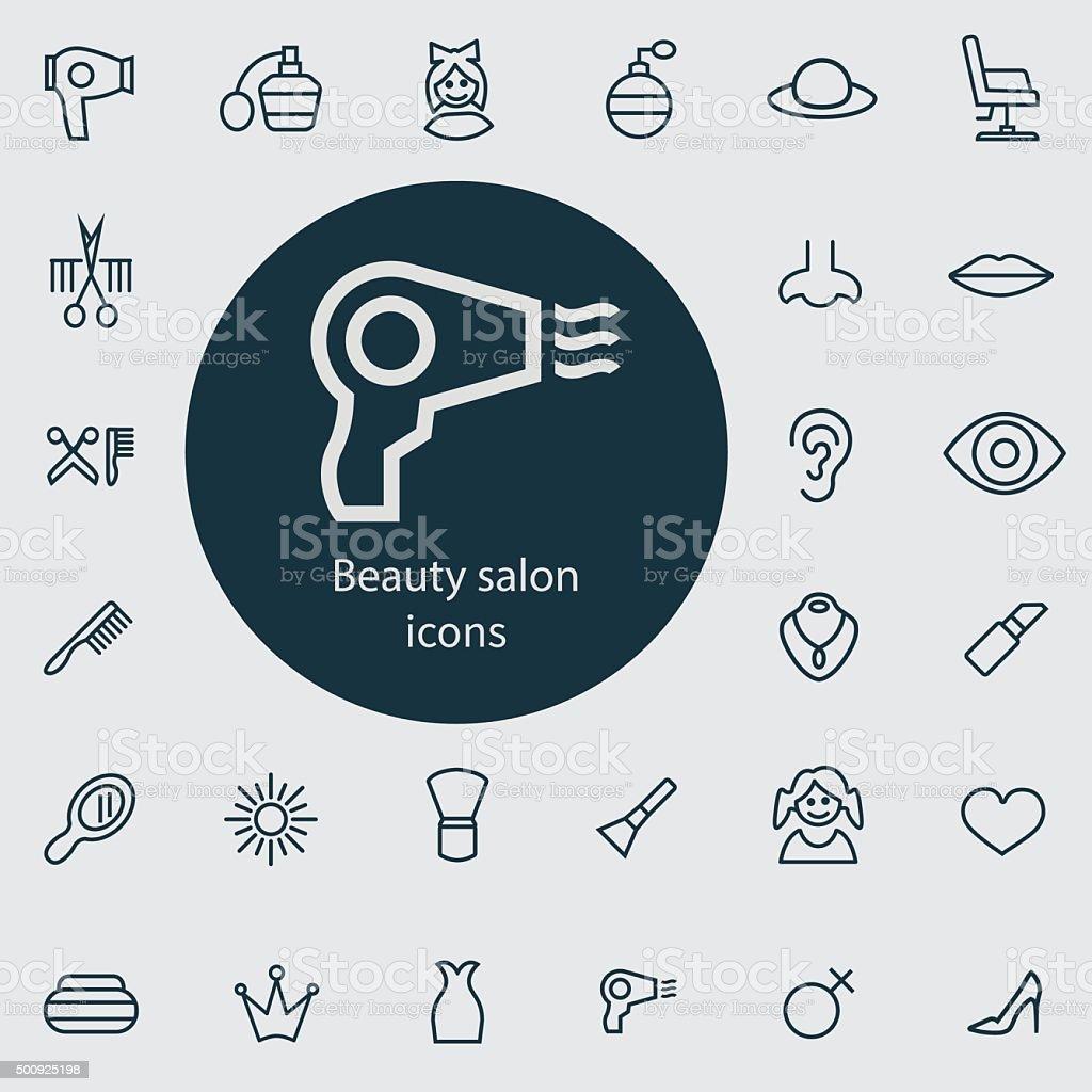 beauty salon outline, thin, flat, digital icon set vector art illustration