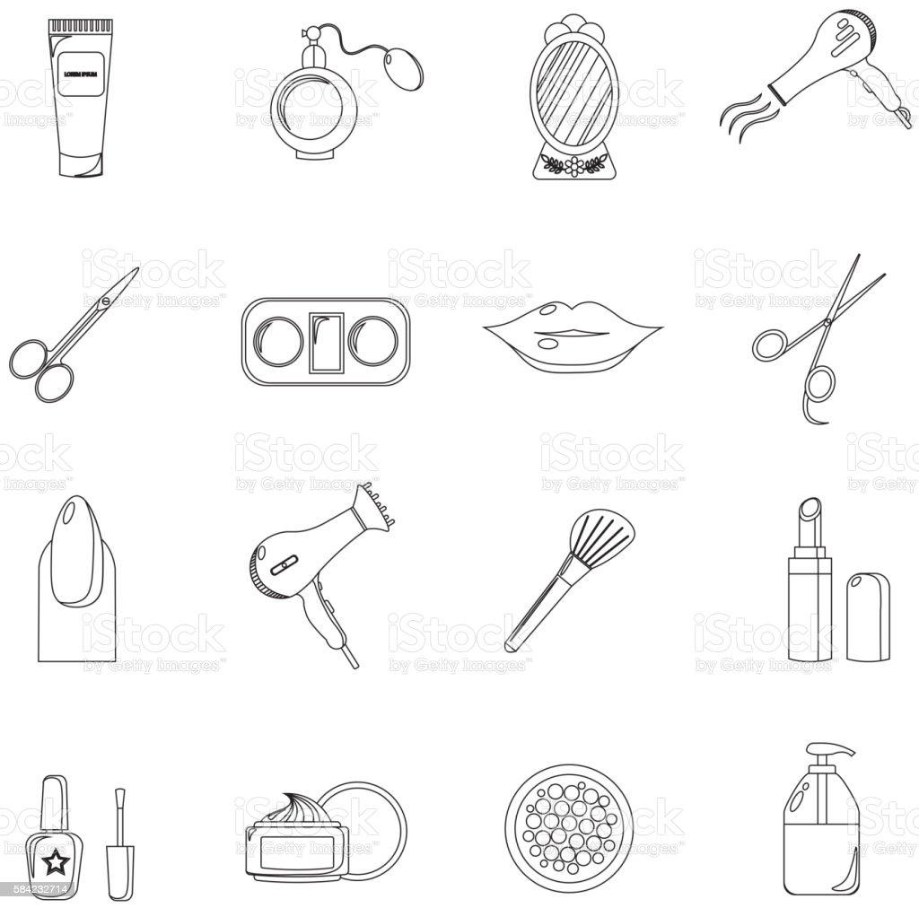 Beauty salon. Set of black line icons. New business. vector art illustration