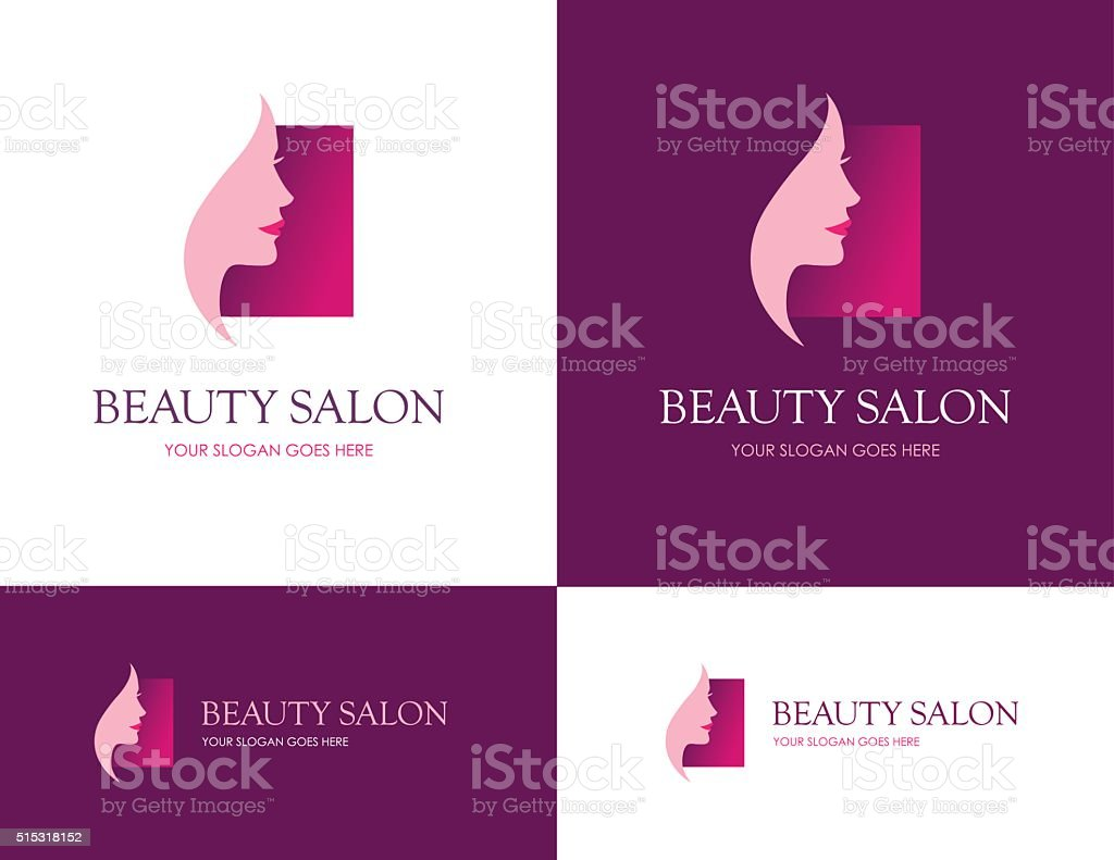 Beauty salon square logo vector art illustration