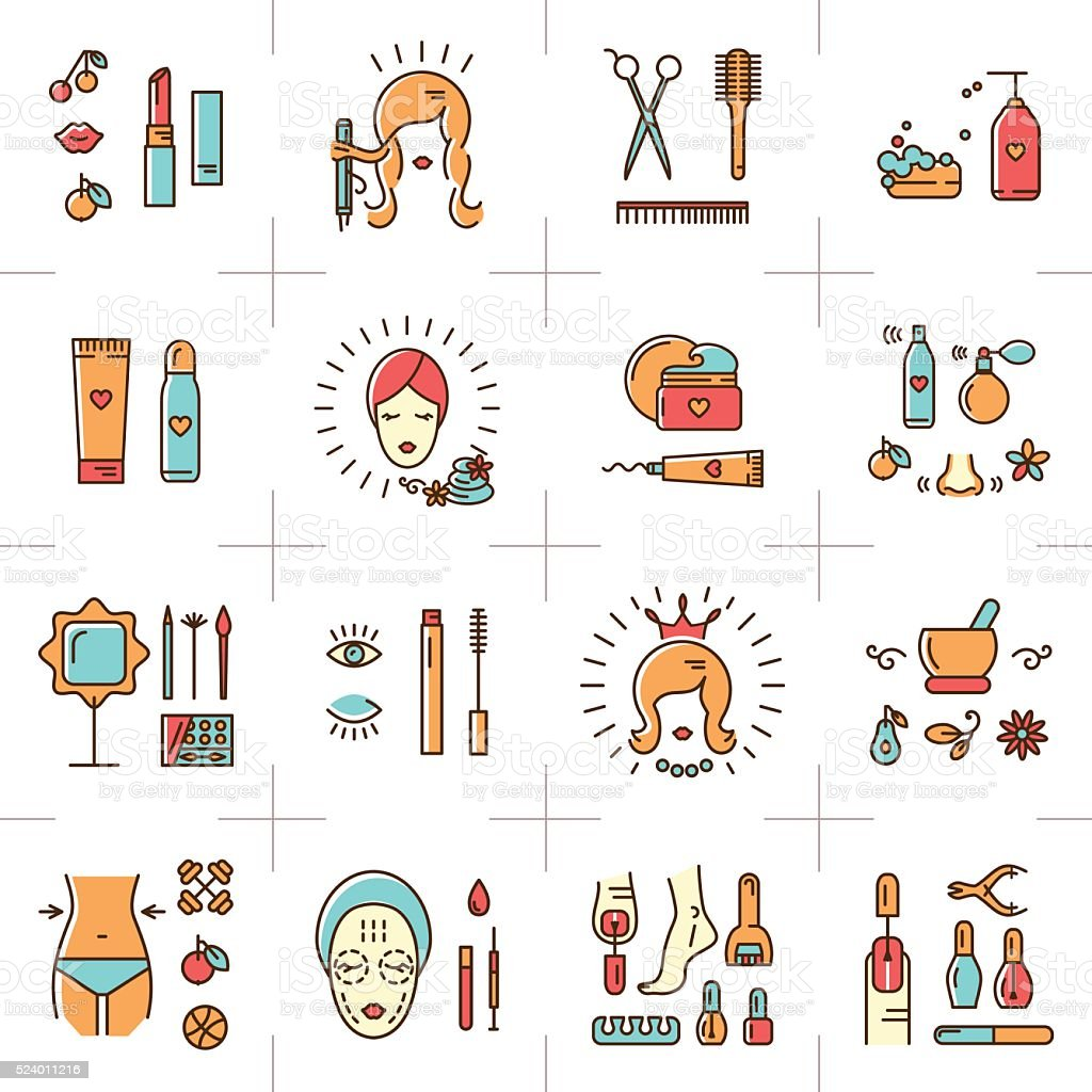 Beauty set line icons art Vector cosmetic spa Beautiful woman vector art illustration