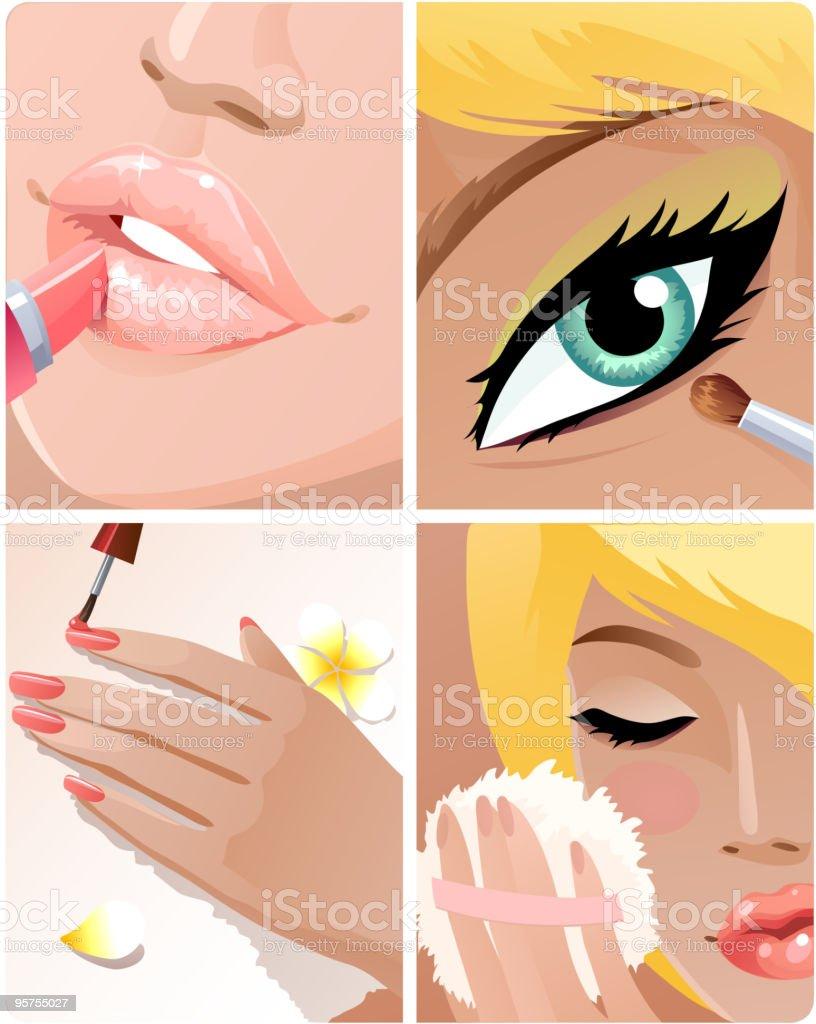 Beauty set vector art illustration