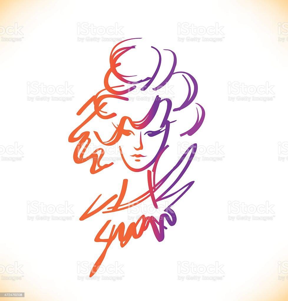 Beauty sketch of woman face. Romantic lady portrait. Vector image vector art illustration