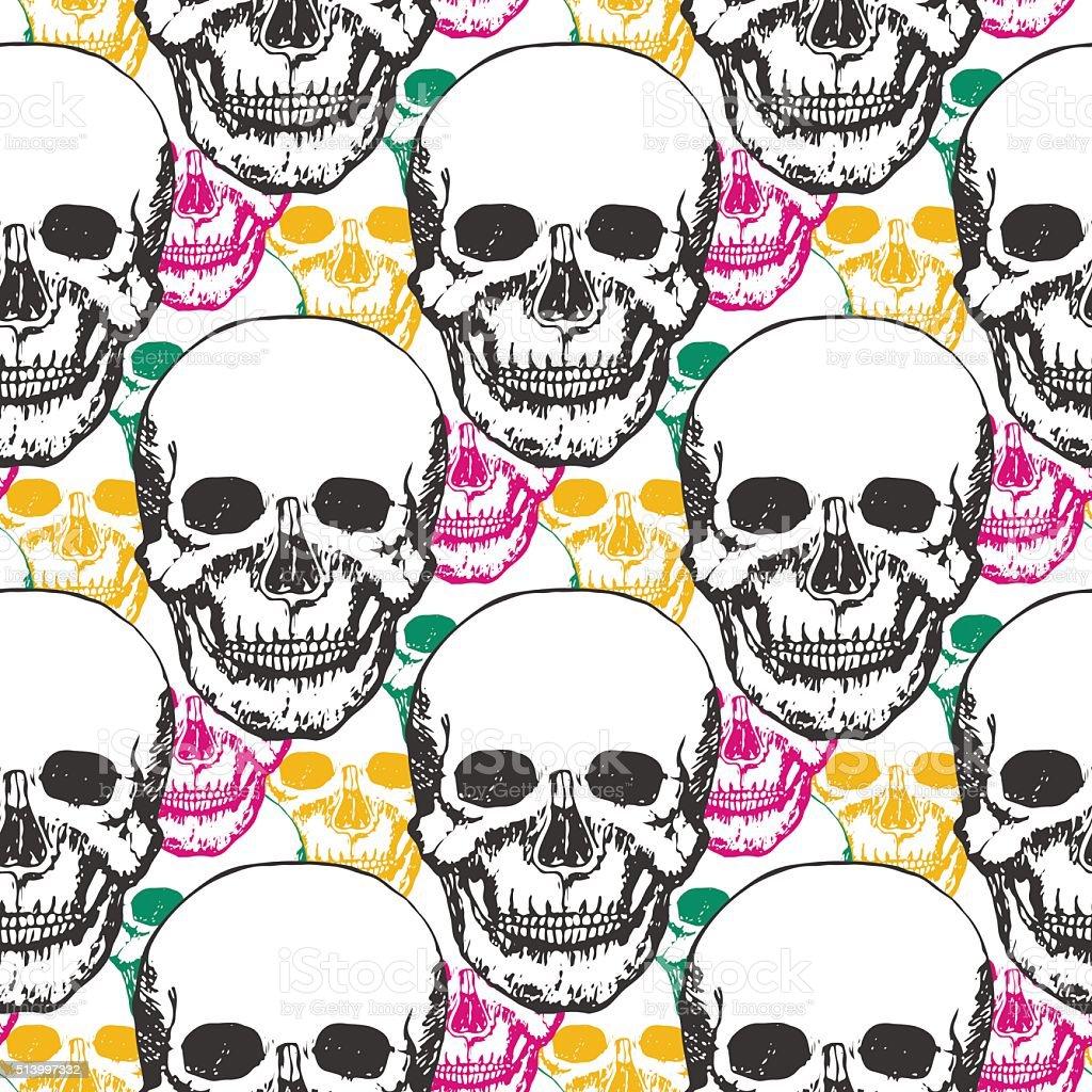 Beauty skulls pattern. Hand drawn seamless background vector art illustration