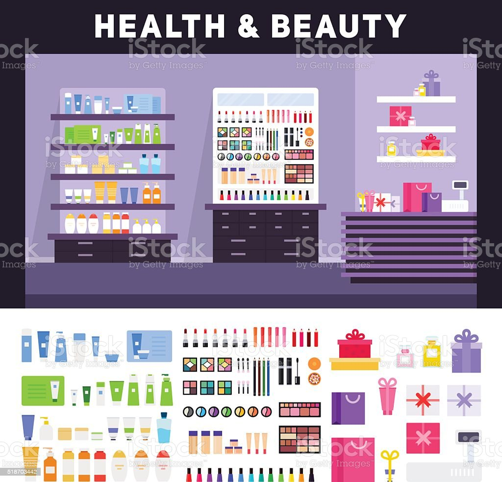 Beauty store with cosmetics on the shelves vector art illustration