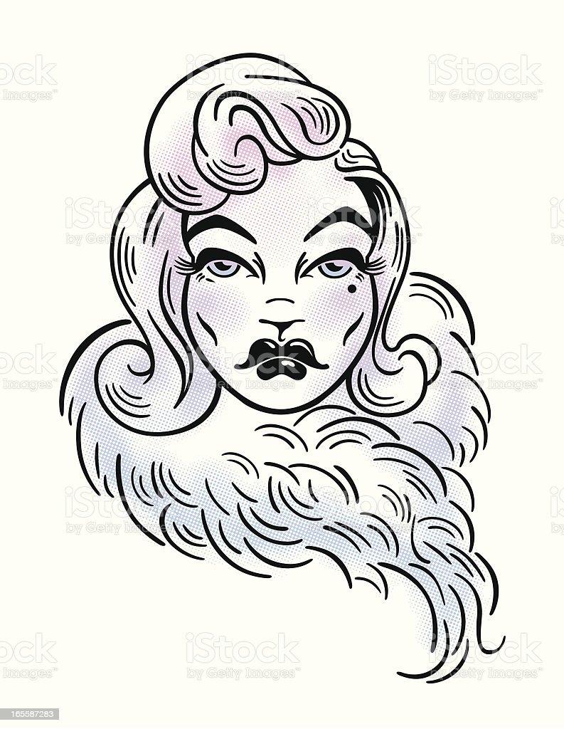 Beauty with a fur boa vector art illustration