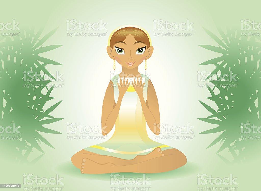 beauty woman holding tea (asana/yoga). royalty-free stock vector art