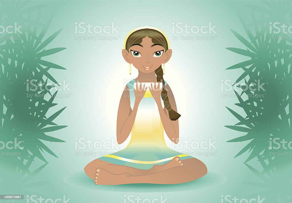 beauty woman holding tea (jungle mood). vector art illustration