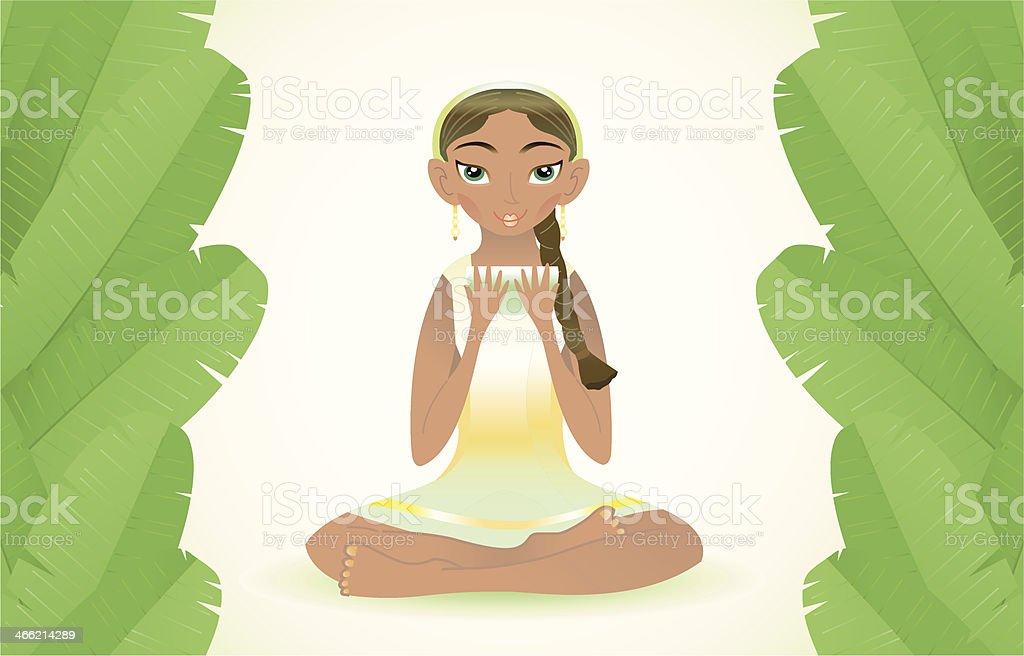 beauty woman with green tea (banana leafs). vector art illustration