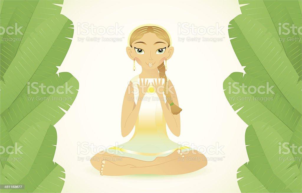 beauty woman with tea (banana leafs). royalty-free stock vector art