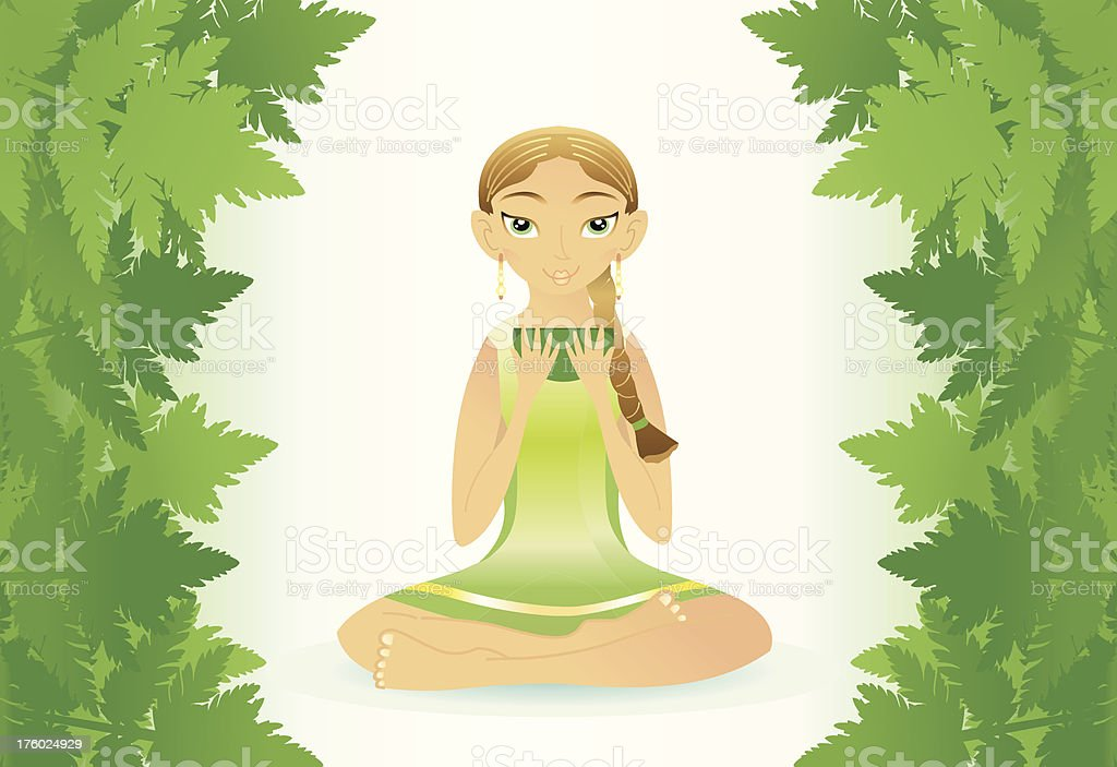 beauty yogawoman (Forest mood). vector art illustration