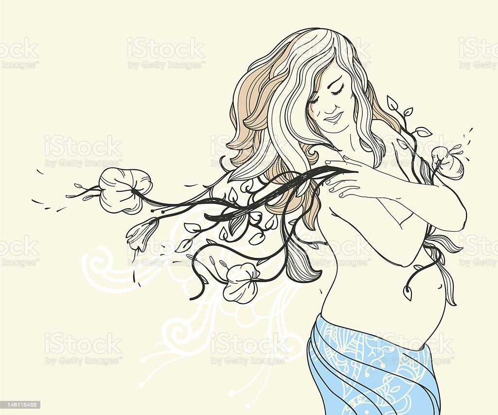 beautyful pregnant woman royalty-free stock vector art