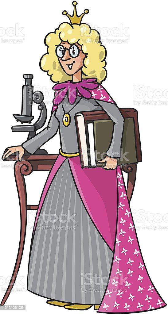 Beautyful queen-scientist vector art illustration