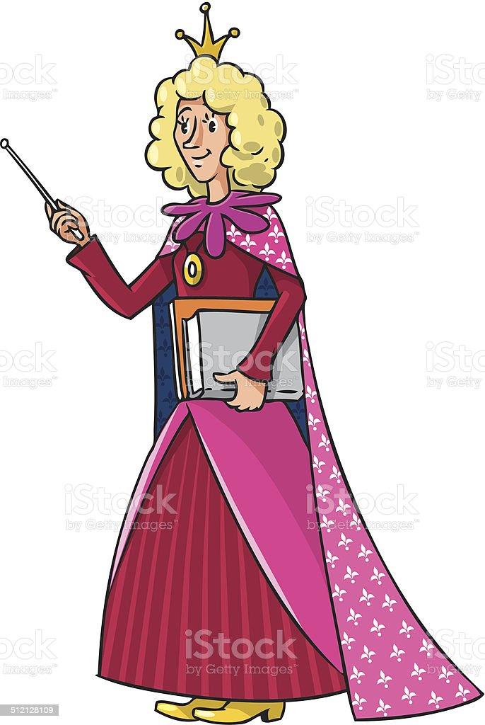 Beautyful queen-teacher vector art illustration