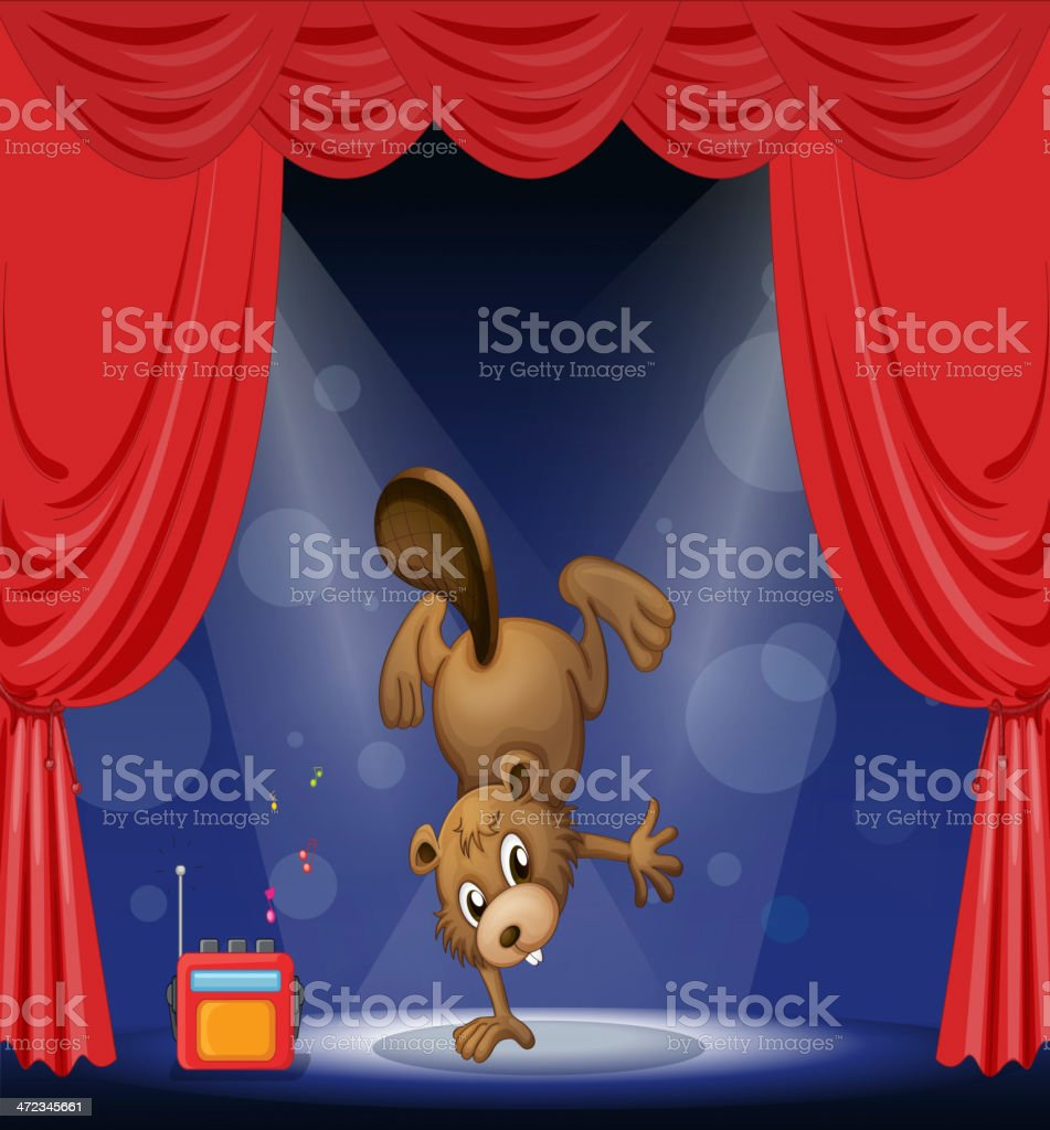 beaver at the stage royalty-free stock vector art