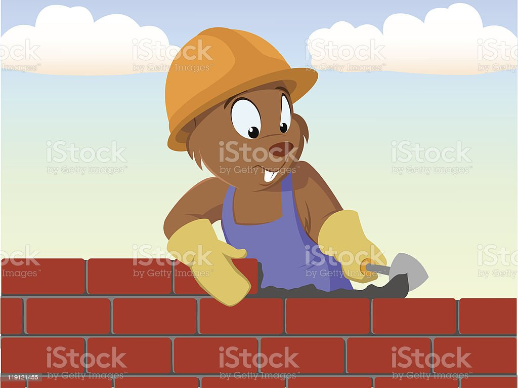 Beaver bricklayer build the brick wall royalty-free stock vector art