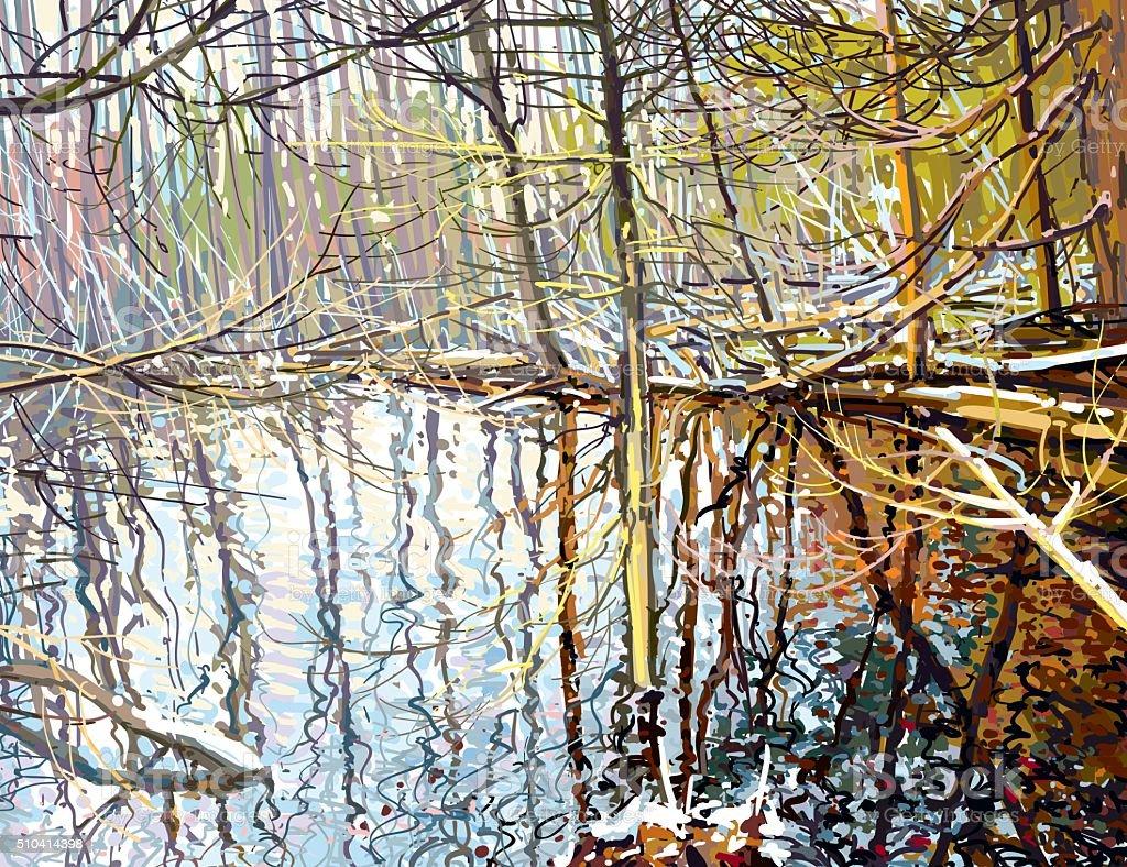 Beaver creek vector art illustration