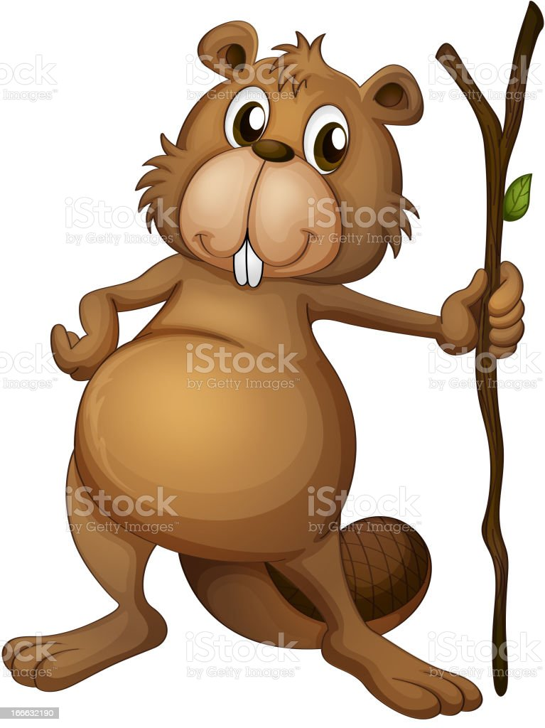Beaver holding a stem royalty-free stock vector art