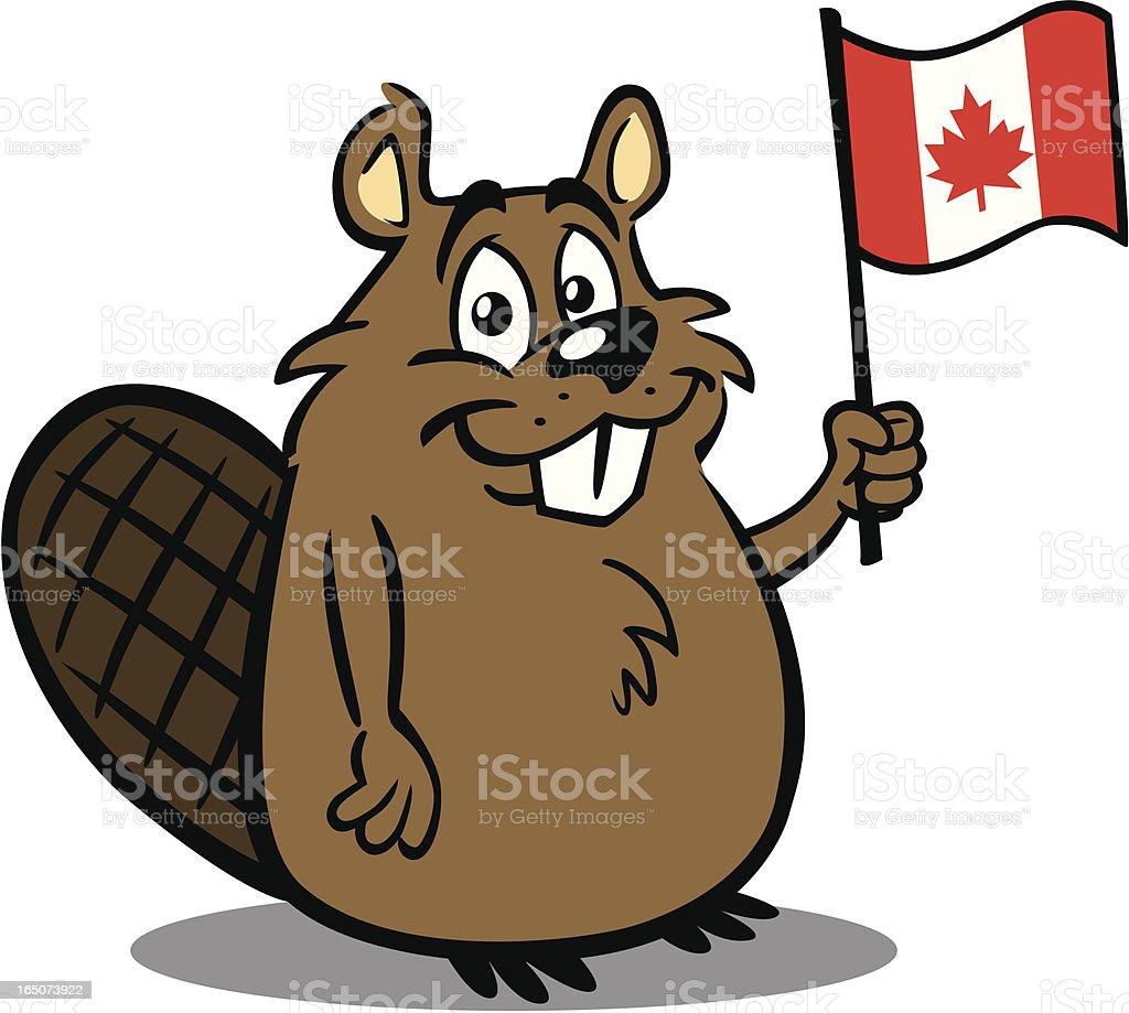 Beaver Holding Canadian Flag vector art illustration