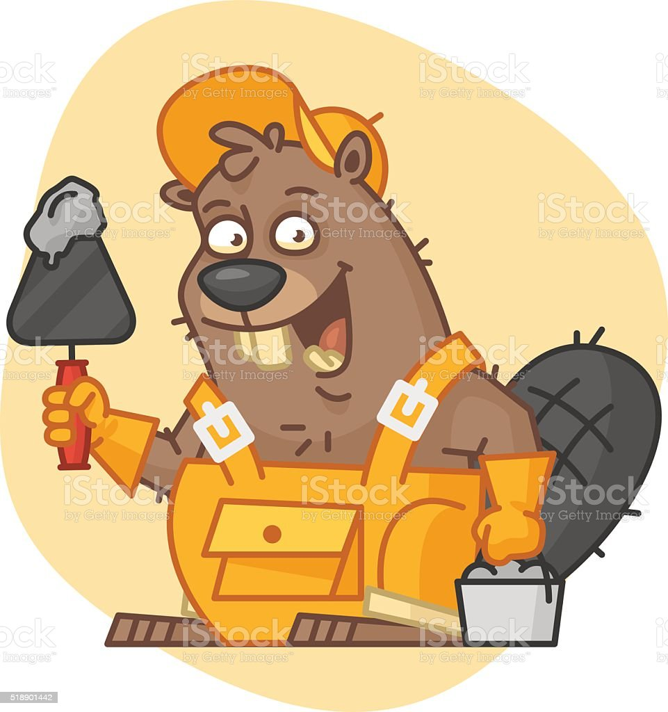 Beaver Holds Trowel and Bucket with Cement vector art illustration