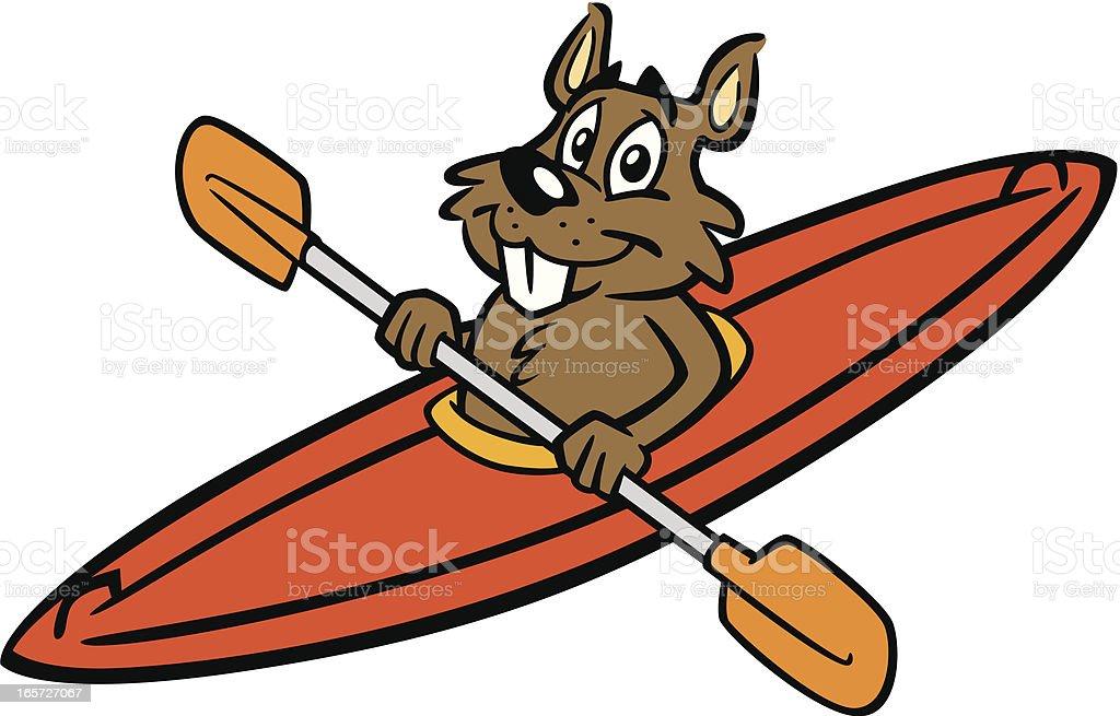 Beaver In Kayak royalty-free stock vector art