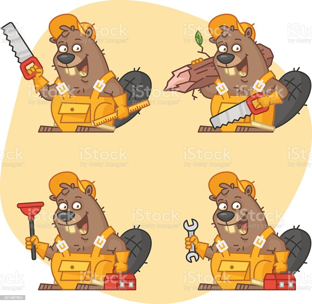 Beaver Master in Different Versions Part 1 vector art illustration