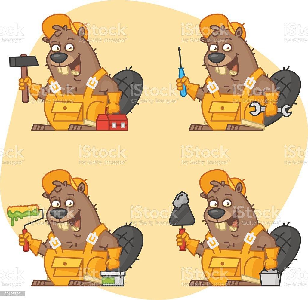Beaver Master in Different Versions Part 3 vector art illustration