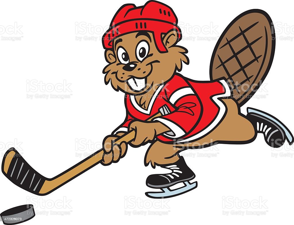 Beaver Playing Hockey royalty-free stock vector art