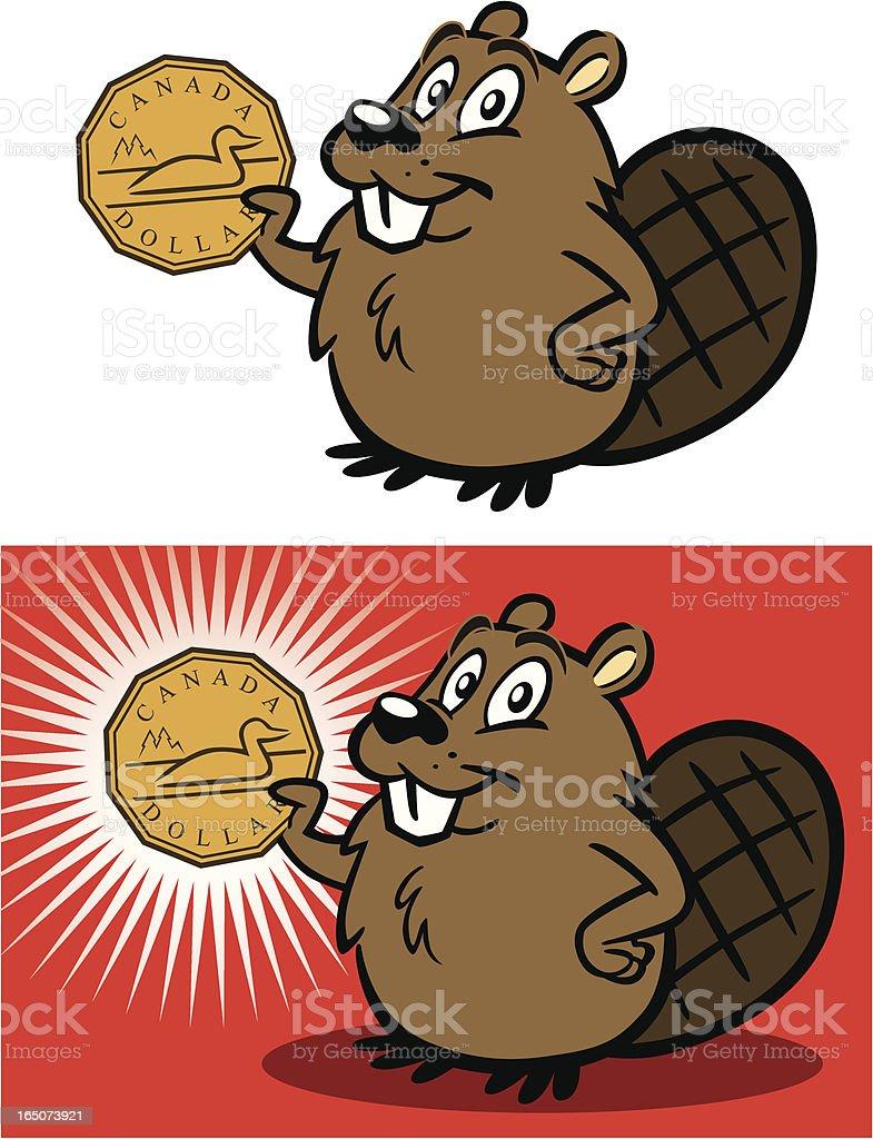 Beaver With Canadian Dollar vector art illustration
