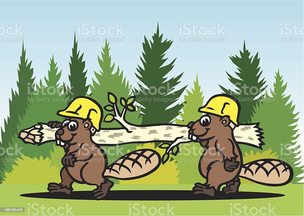 Beavers at Work royalty-free stock vector art