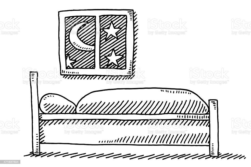 lit et fentre de dessin hbergement de nuit stock vecteur libres de droits libre de droits