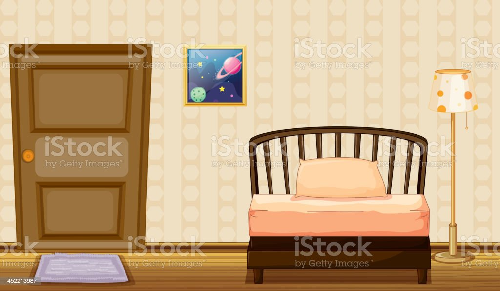 bed and a lamp royalty-free stock vector art