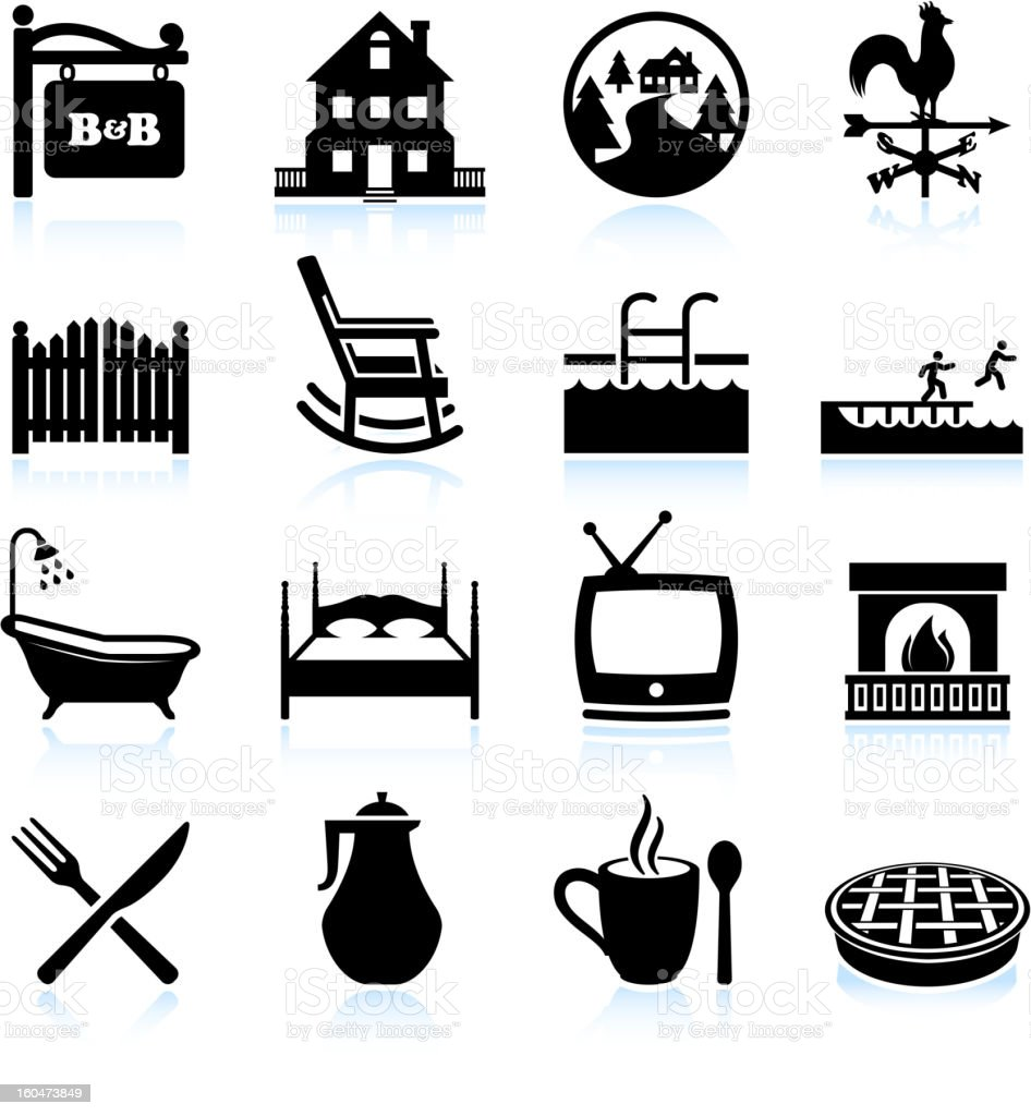 Bed and Breakfast Hotel black & white icon set vector art illustration
