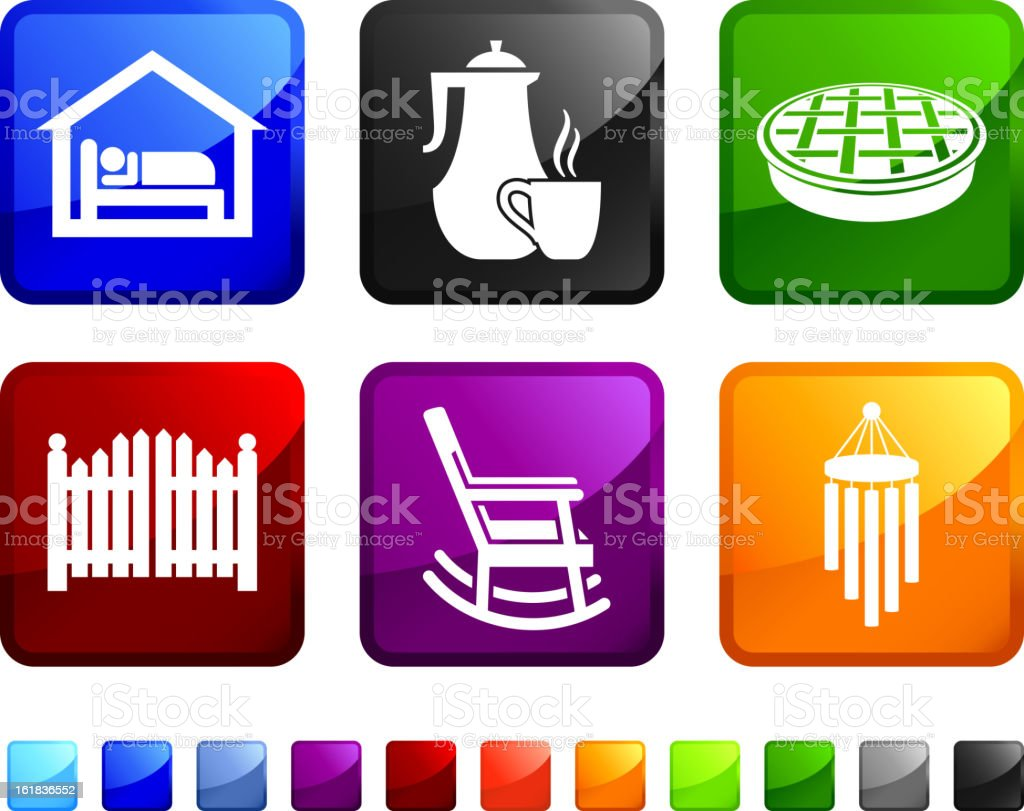 Bed and Breakfast Hotel royalty free vector icon set stickers royalty-free stock vector art