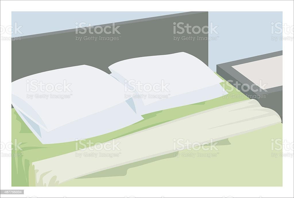 bed and pillow simple illustration vector art illustration