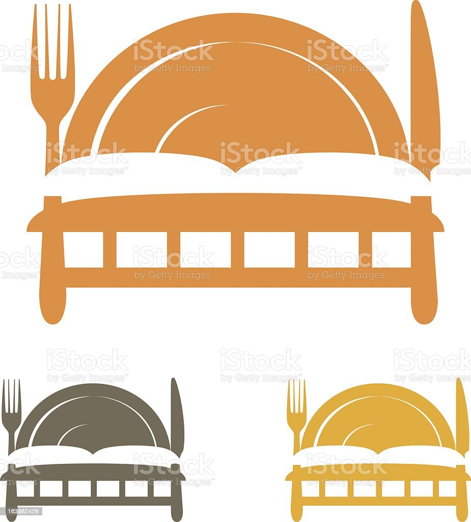 Bed & Breakfast or Food with Lodging Icon Set vector art illustration