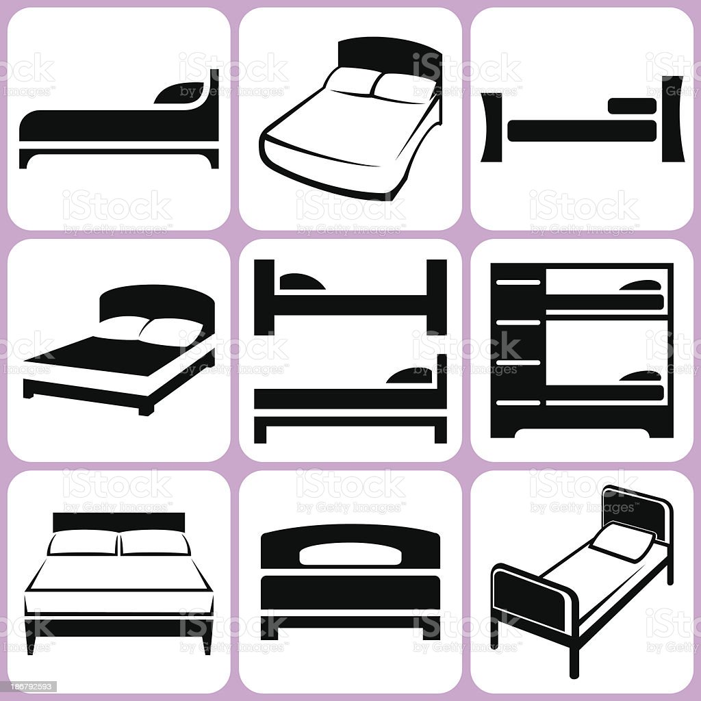 bed icons set vector art illustration